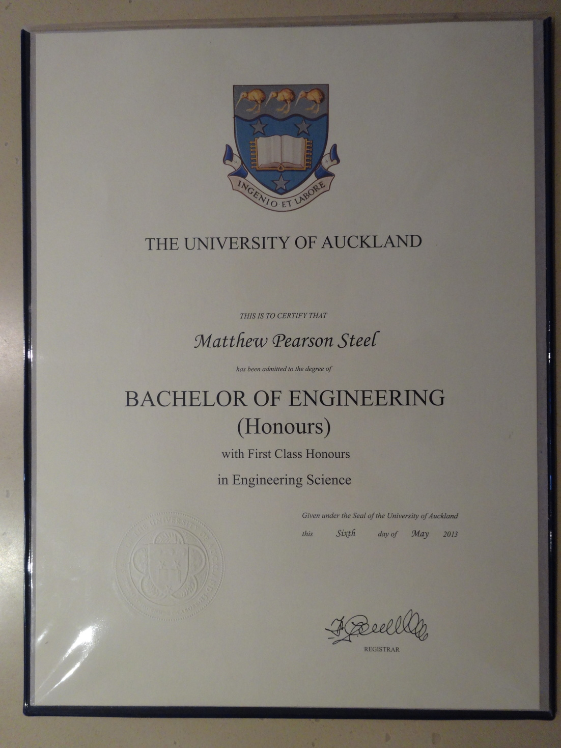 educational certificates first class honours in engineering science